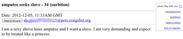 Amputee Seeks Slave